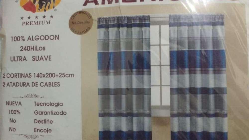 <strong>juego</strong> de cortinas 100 %algodon