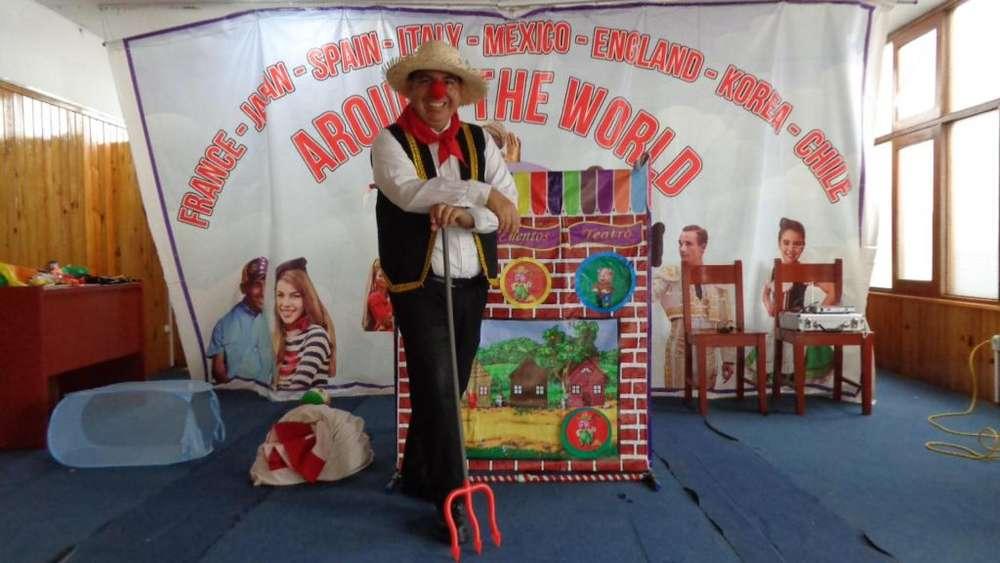 fiesta show infantil títeres cuenta cuentos, magia, frozen minnie Mickey, los tres chanchitos, parque picnic party