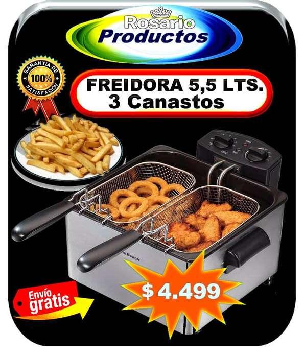 FREIDORA ELÉCTRICA ACERO INOX. 5,5 LITROS 3 CANASTOS
