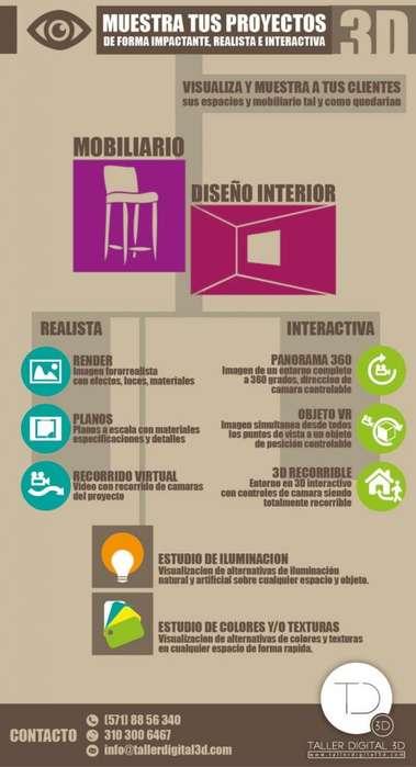 Muebles o Interiores en 3D Renders
