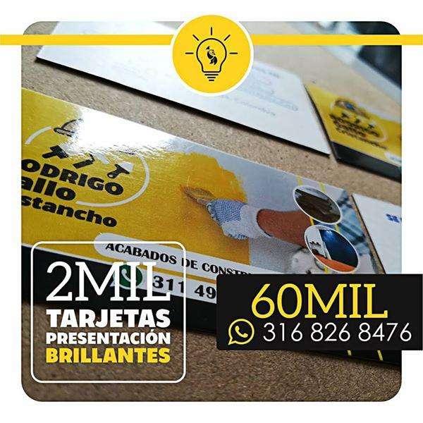 2 MIL TARJETAS DE PRESENTACIÓN BRILLANTES / BUCARAMANGA