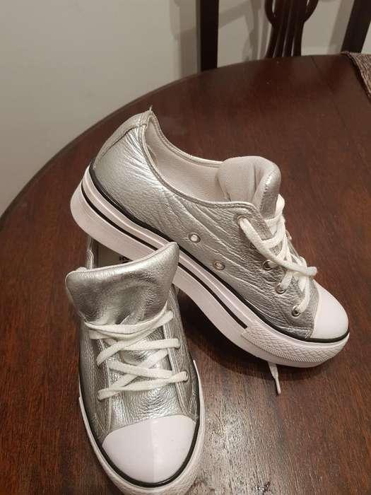 Zapatillas Color Plata