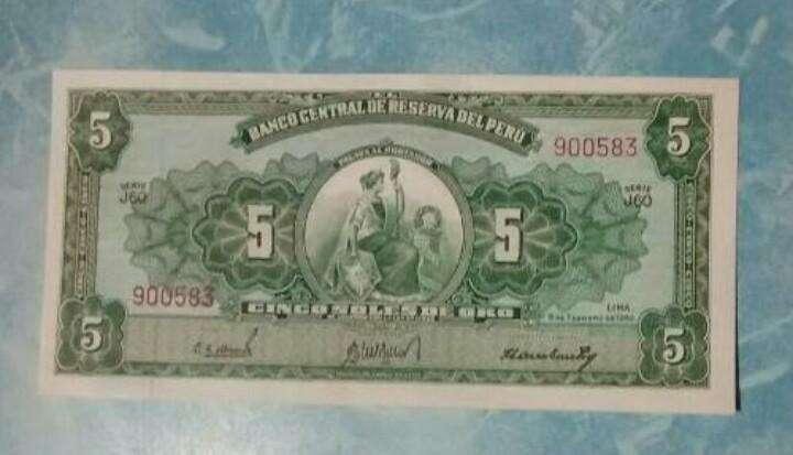 Un Billete de 5 Soles 1962