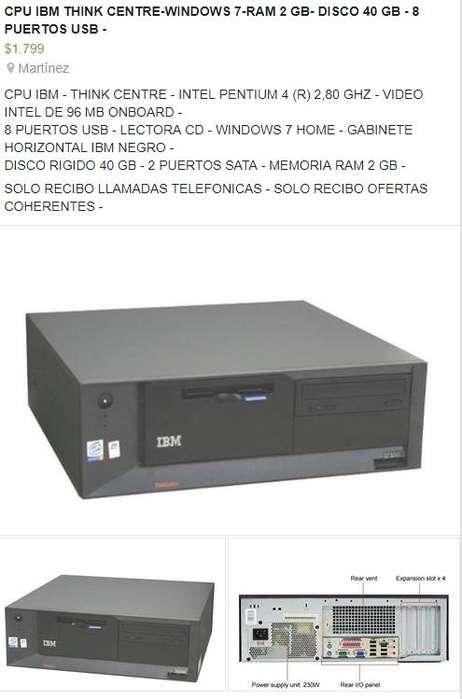CPU,,WINDOWS 7,,2 GB DE RAM,,DISCO 40 GB,,8 PUERTOS USB,,