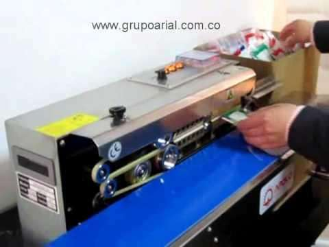 maquina selladora de bolsas continua, con fechador automatico