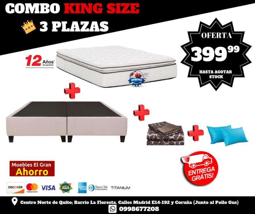 COMBO KING 3 PLAZAS !!! Por solo 399 BASE. COLCHÒN NON FLIP Garantìa 12 años, Sàbanas, 3 almohadas *ENTREGA*