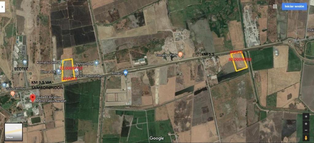 Terreno de 30.000 m2  Vendo Vía a Samborondon