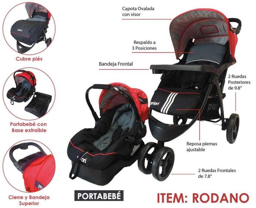 Coche Travel Con silla para carro, Base y Cubre Pies Rodano Rosado