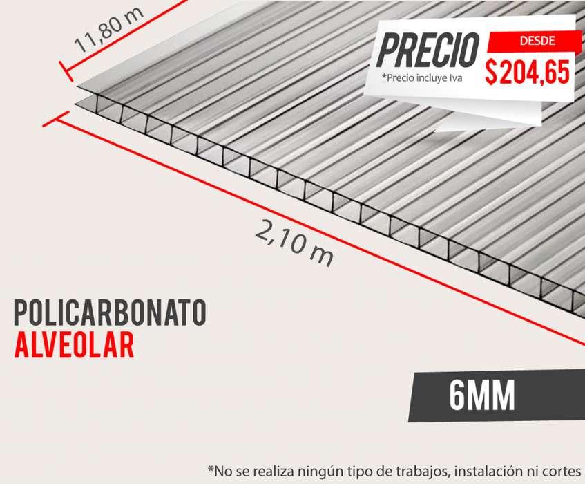 Policarbonato Alveolar Jireh 6mm 11.80 x 2.10 Alucobond, Acrílico, Cielo raso PVC