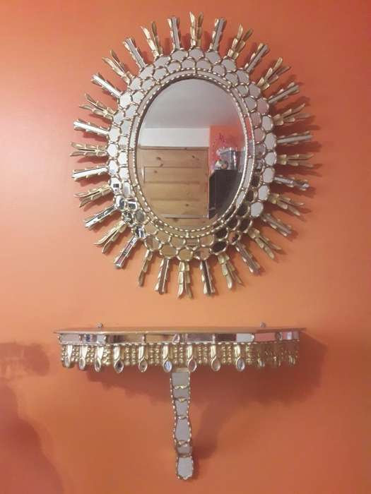 Espejo Y Consola Antiguos Tallado Madera