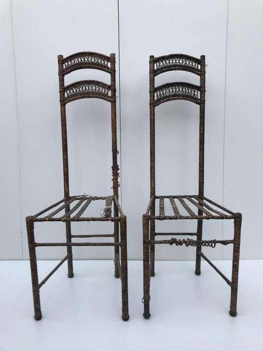 <strong>silla</strong>s hierro revestido en mimbre