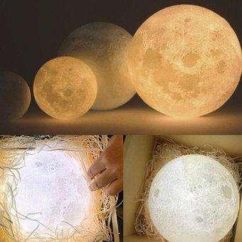 Lámpara De Luna Impreso En 3d 16 Colores Luz De Luna Led Decoración