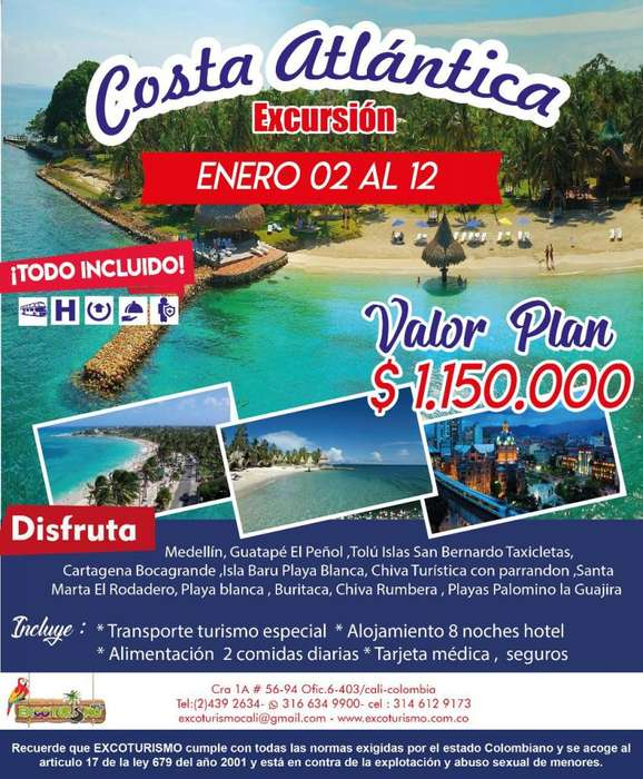 EXCURSION COSTA ATLANTICA - CAPURGANA PLAN DESDE CALI PALMIRA BUGA PEREIRA plan 2019
