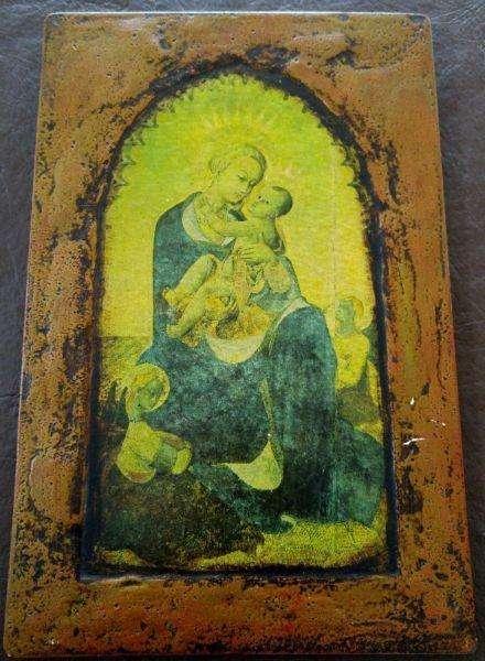 Cuadro Virgen y el Niño. Antigüedad Muy interesante. Pintura en madera completa 26 cms x 35.5 cms