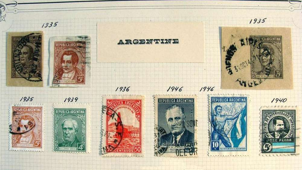 Sellos postales de Argentina 1935 – 1954