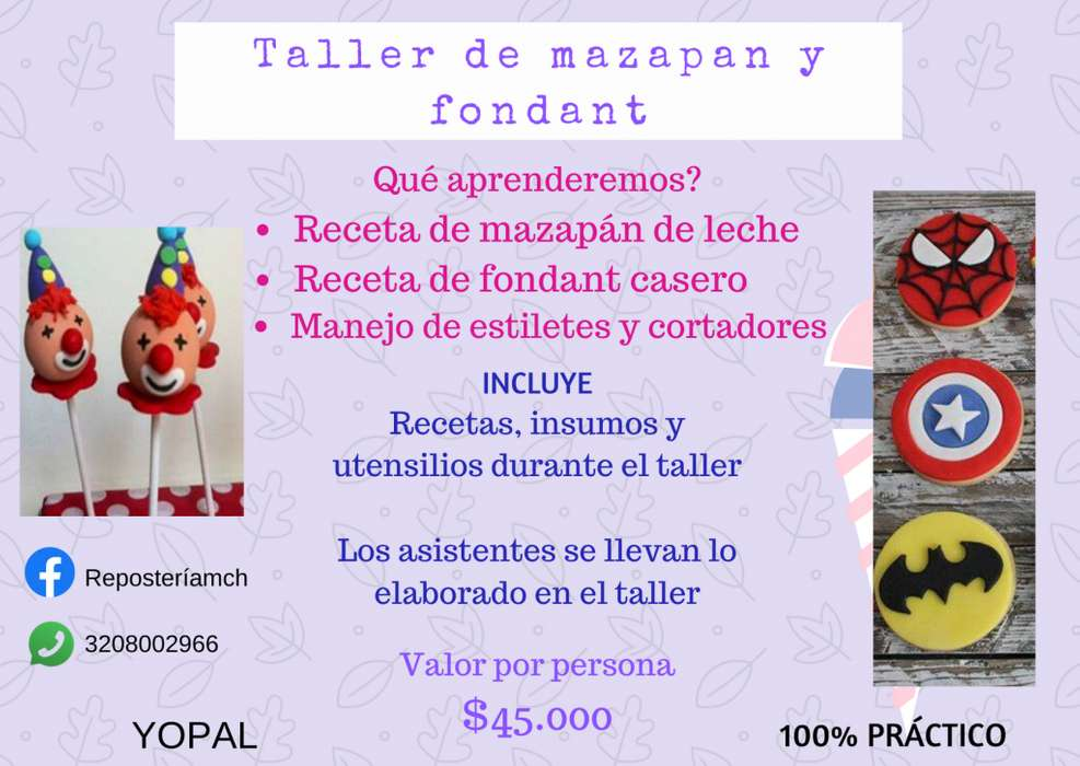 Curso taller pràctico MAZAPAN DE LECHE Y FONDANT CASERO