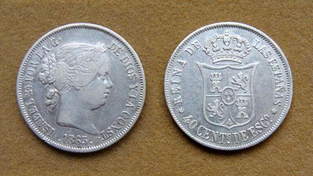 Moneda de 40 céntimos de plata, España 1865