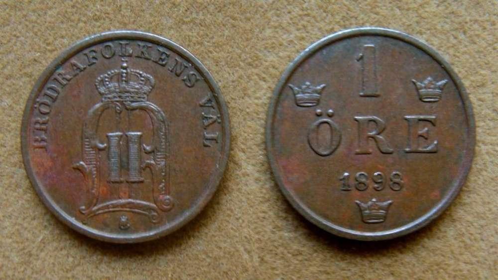 Moneda de 1 öre Suecia 1898