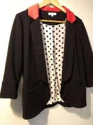 Saco entallado Blazer Forrado Chaqueta Mangas 3/4 De Punto Mujer Cuello rojo USADO