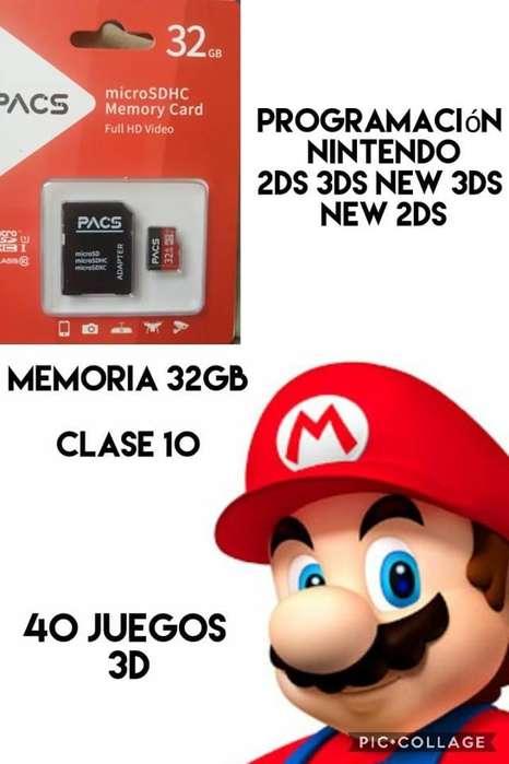 programacion para 3ds mas memoria 32gb clase 10 y 40 juegos