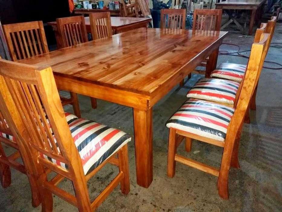 Juego <strong>comedor</strong> Laqueado con 10 sillas enceradas, Arme su Juego de mesa y sillas enviamos presupuesto