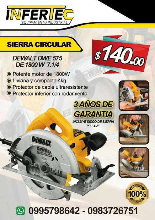 Sierra circular Dewalt DWE 575 de 1800W 7.1/4