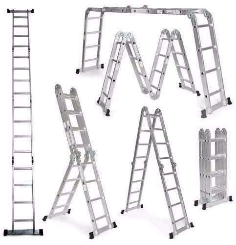 Escalera Plegable Multipropósito En Aluminio 12 Pasos 3.37m