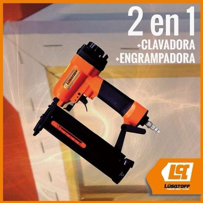 CLAVADORA ENGRAMPADORA NEUMÁTICA 2 EN 1 LUSQTOFF GC940