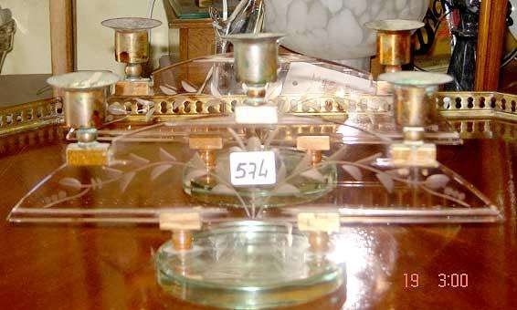 Par de Candelabros Diseño Art Noveau Baño Plata Vidrio Impecables Antig.Paraver