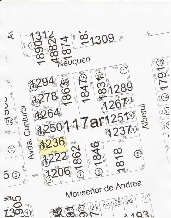 TERRENO EN CONTURBI 1.236 DE 12,80 x 23,59