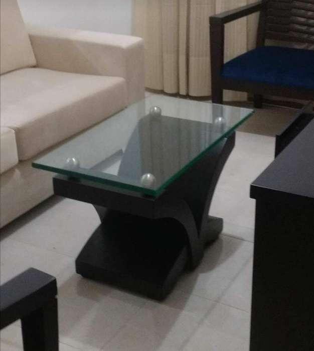 Mesa de Centro, Madera Y Vidrio de 2 Cm
