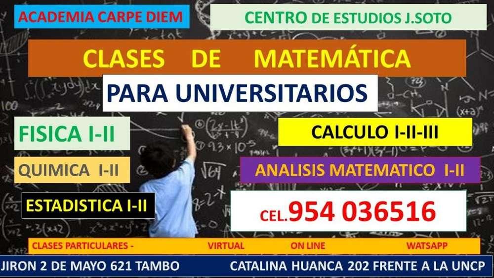 CLASES PARTICULARES DE MATEMÁTICA PARA ALUMNOS UNIVERSITARIOS HUANCAYO