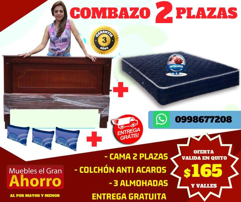 Hasta Martes 17 Nov COMBO 2 PLAZAS Por solo 165 usd CAMA, COLCHÓN ANTIA CAROS, ALMOHADAS, ENTREGA