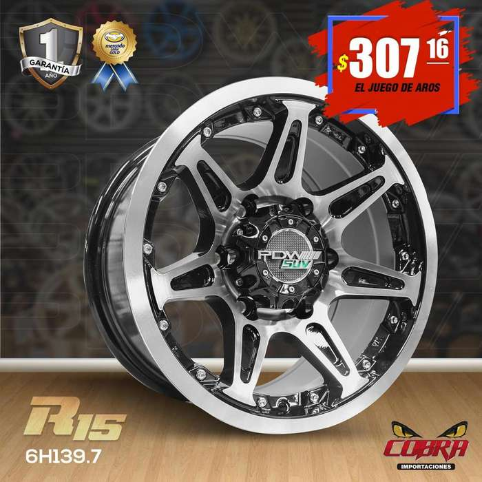 Aros Rin 15 JUEGO* Toyota Hilux 4x2 Ford Ranger Ford Explorer Jeep