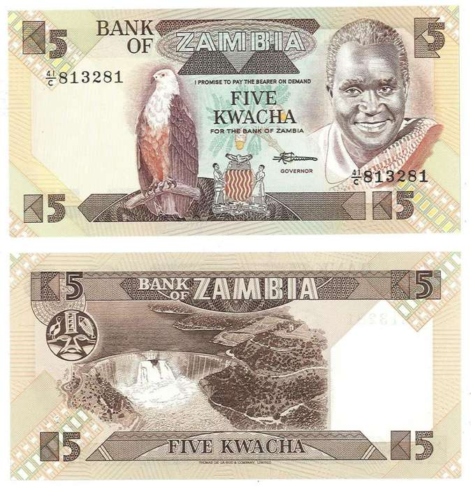 ZAMBIA. BILLETE. 5 KWACHA. 1980. TIPO D. ESTADO 9 DE 10. VALOR 13600 14400 EN CATALOGO