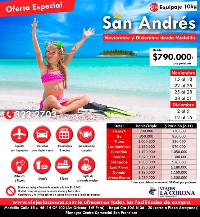 San Andrés 3 ó 4 Noches NOVIEMBRE - DICIEMBRE