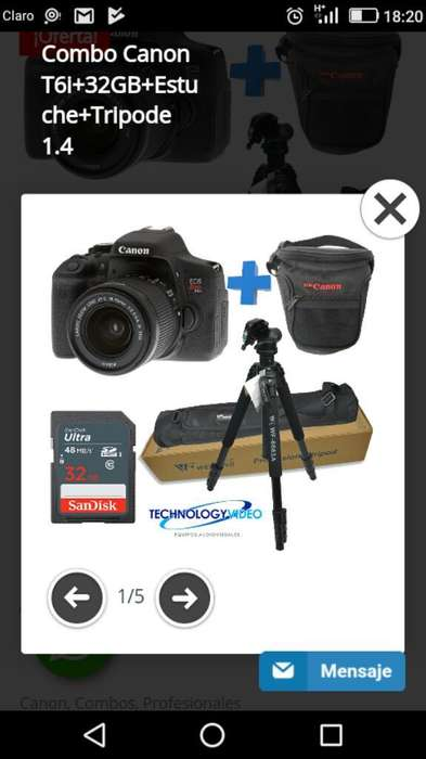 Vendo Canon T6i Combo