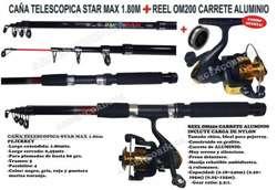 CAÑA TELESCOPICA STAR MAX 1,80M MAS REEL OM200 CARRETE ALUMINIO - PEJERREY