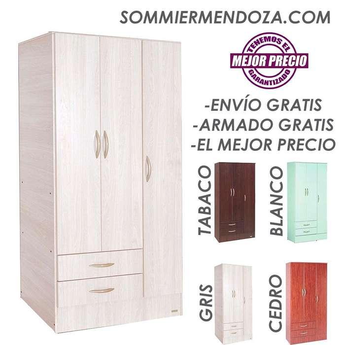 ENVÍO y ARMADO GRATIS! PLACAR 3 PUERTAS 2 CAJONES, Platinum 913. Placard Ropero Armario