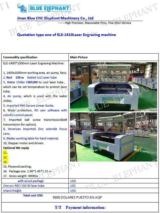 Vendo Maquina de Corte Laser 1410 150watts