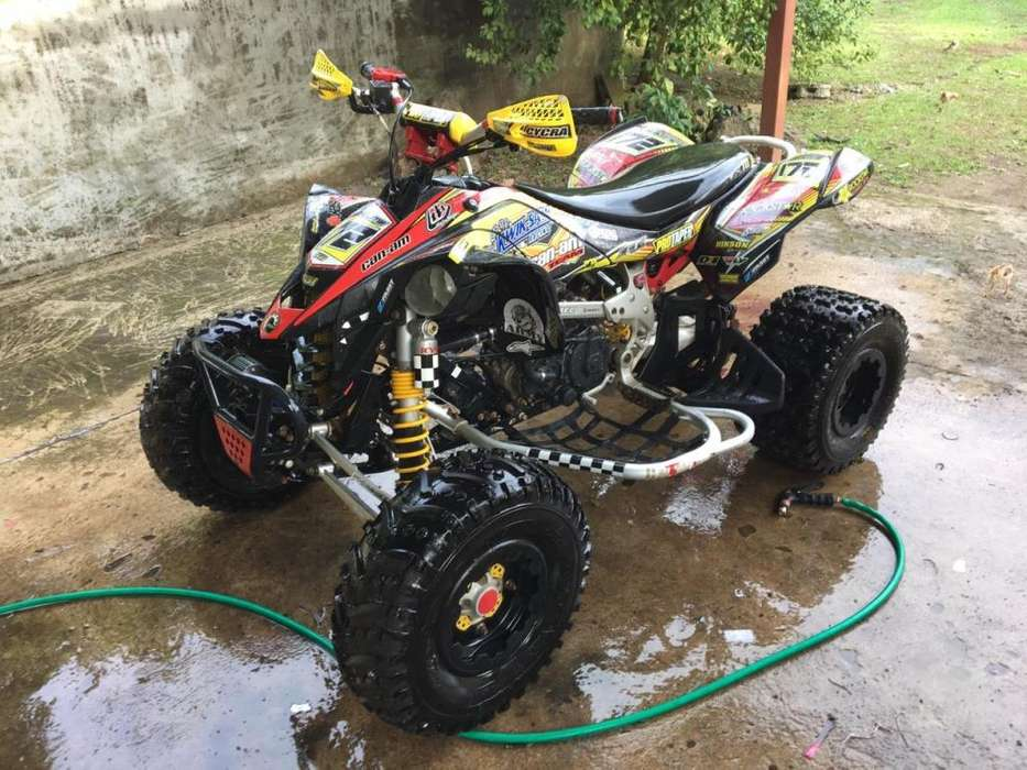four wheel can am ds450 atv con carreta