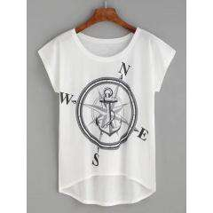 T-Shirt High Low Compas Talla: S