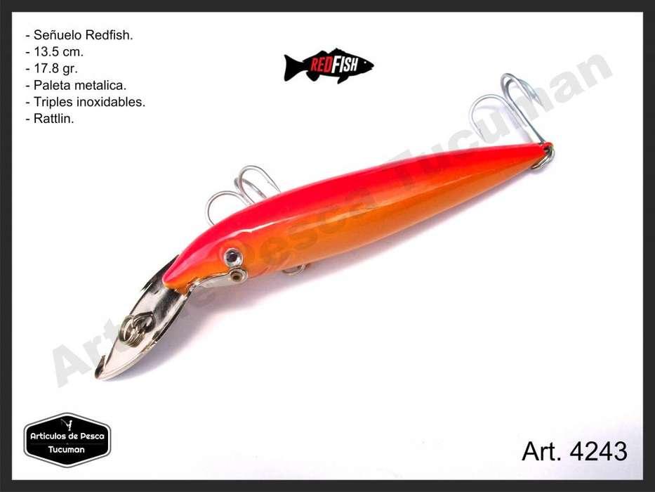 Señuelo Red Fish. Paleta metalica. 135 mm. Articulos de Pesca Tucuman. 4242