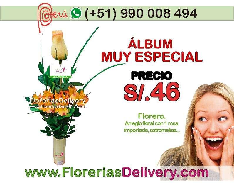 Florero con una rosa y astromelias.... Código: olx M F.L.-0001