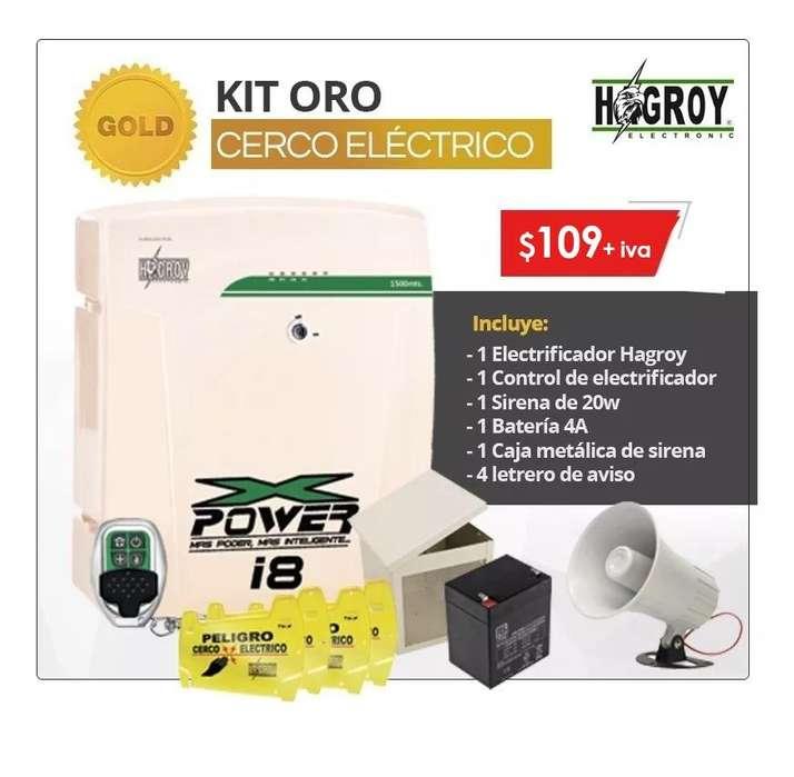 Kit cerco electrico hagroy 1500m electrificador tensores aisladores bateria sirena