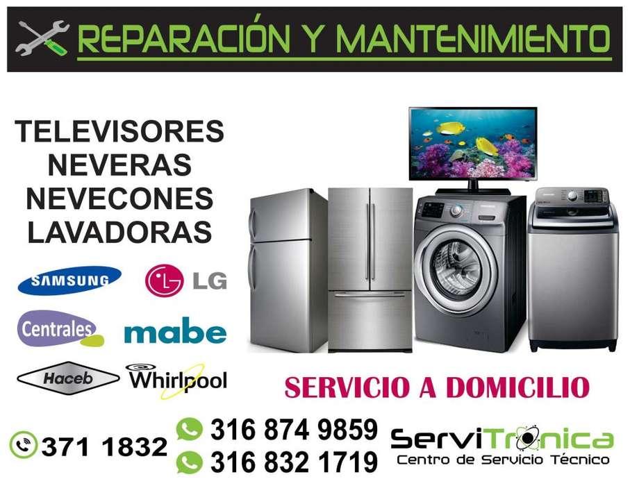 REPARACIÓN Y MANTENIMIENTO TELEVISIÓN NEVERAS LAVADORAS Y SECADORAS TEL: 371 1832
