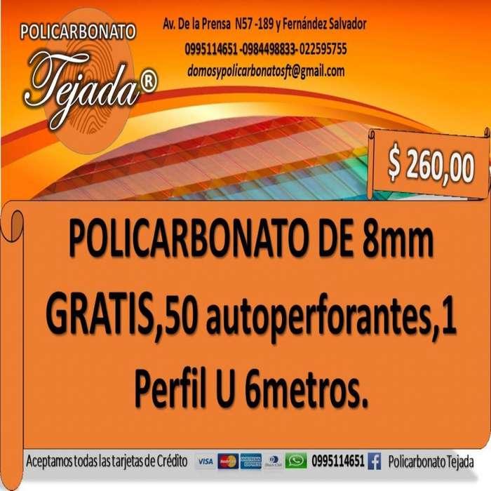POLICARBONATO 8MM-GRATIS 50 AUTOPERFORANTES, 1 PERFIL U METROS