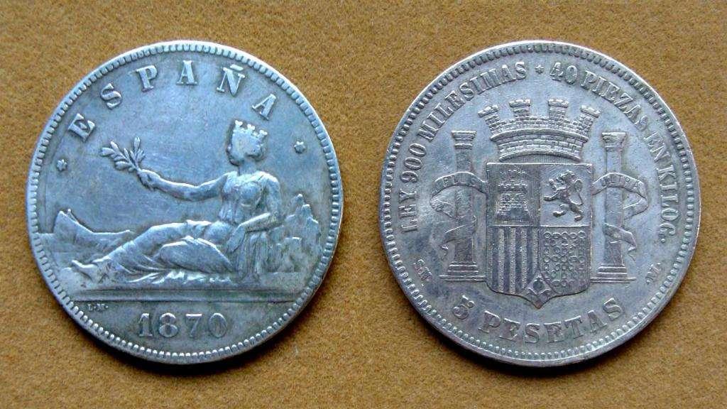Moneda de 5 pesetas de plata, España 1870