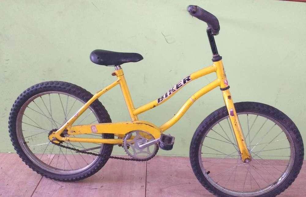 Bicicleta playera rod 20 usada amarilla