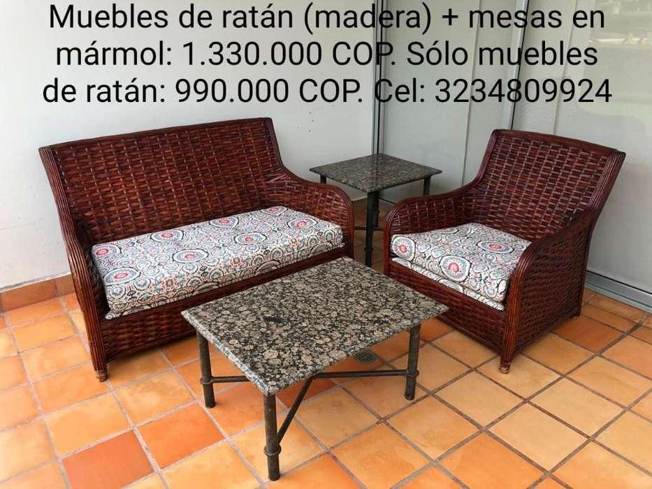 Muebles en Madera Ratán Y Mesas Mármol